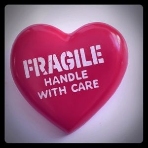 """""""FRAGILE HANDLE WITH CARE"""" Heart ❤ Pin Brooch"""